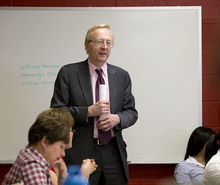 William Parshal in front of a class.